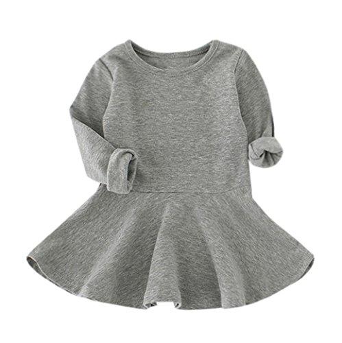 Baby Kind Mädchen Kleid, QinMM Süßigkeit Farben lange Hülsen feste Prinzessin beiläufiges Kind Kleid (1-3Y, Grau)