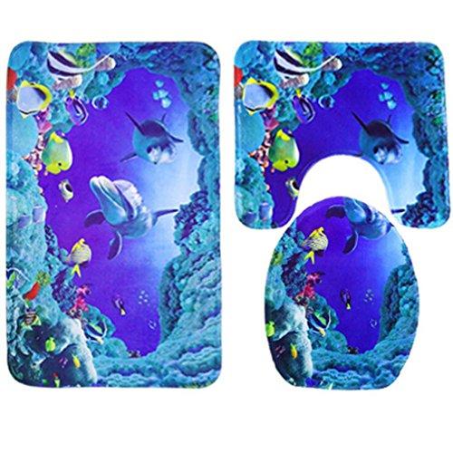 sunnymi WC Vorleger 50*80cm Rutschfester Sockel-Teppich + Deckel WC-Abdeckung + Badematte,Blauer Ozean-Art,Badematte Bade matte rutschfester Badvorleger Badteppich (Polyester, 50 * 80cm) (Ozean-bett-satz)