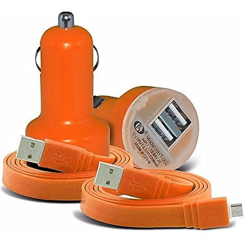 BLU Dash X LTE - Intelligente ultra 6 universale Compact desine 12v rapida compatta Mini pallottola doppio del USB Caricabatteria da auto e 2x Micro USB Appartamento 1 metro Dati Tablet PC cavo di ricarica esclusiva (Orange)