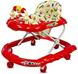 Goyal's Cartoon Baby Walker - Music & Rattles with Adjustable Height (Red)