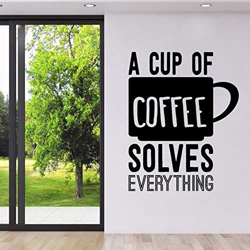 e Wandtattoos Eine Tasse Kaffee Löst Alles Wandaufkleber Coffe Shop Küche Zeichen Logo Wandkunst Wand 57 * 71 cm ()