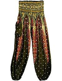 Mujer Pantalón étnica Aladin Harén Pant Aladdin Hippie Yoga Pantalones Bombachos de Yoga Muy Cómodos y de Corte Profundo como Ropa Hippie…