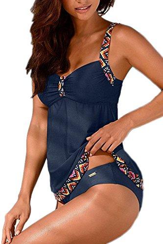 Tankinis Mujer Traje de Baño de Dos Piezas Conjunto Push up Bikini Playa Beachwear Darkblue XXL