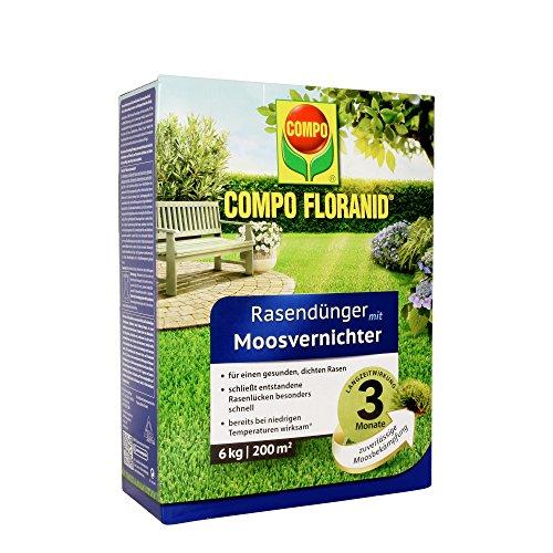 Compo Fertilisant pour gazon 13426 Floranid, avec destructeur de mousse, 12kg pour 400m² 6 kg Transparent
