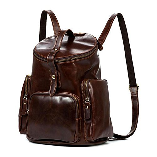 Xiaopangzi Femmes Backpack College Retro en cuir véritable panier Sac de voyage Coffee