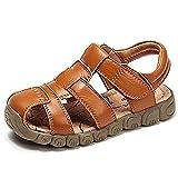 Sandales Enfant Cuir Bout Fermé Bébé Chaussure Garçon Fille Été Sandale Blanc Noir Jaune Marron Taille 21-36 EU Jaune 30