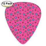 Vintage Retro 50s Comics Themed Image With Stars Pattern Guitar Picks 12/Pack