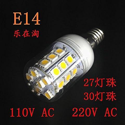 E14 LED lampadina a risparmio energetico 3 W Lampada pin 110V 220V lampada decorativa appeso Lampada da parete lampadario di cristallo lampadina luminosa, 3 E14 110V (30 Lampada perline), bianco - Luminoso Perline Blu