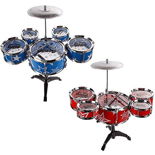 TK 6Pcs Big Band Jazz Kids Drum Set Kit Childs Play Music Toy Mini Musical Blue Red