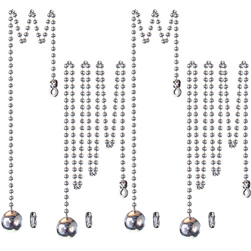 Hestya 1 Meter Länge Deckenventilator Licht Zug Schnur Edelstahl Ball Pull Erweiterung mit Stecker, 4 Sets