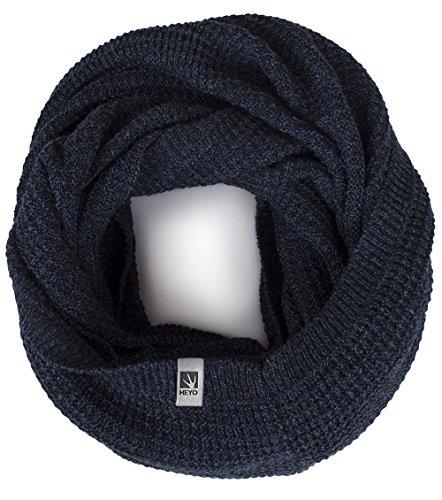 Rundschal | HEYO H16025 | Winter Loop Schal für Herren | weiches gestricktes Schlauchschal | warmes Strickschal (Dunkelblau)