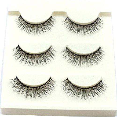 wyxhkj faux cils 3paires longues croix faux cils maquillage naturel faux épais cils yeux noirs (C)