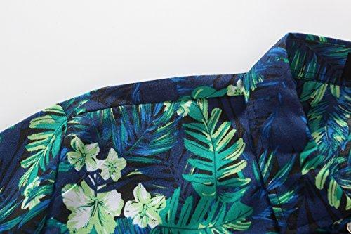 SSLR Herren Jungle Drucke Freizeit Kurzarm Aloha Hawaii Hemd Blau
