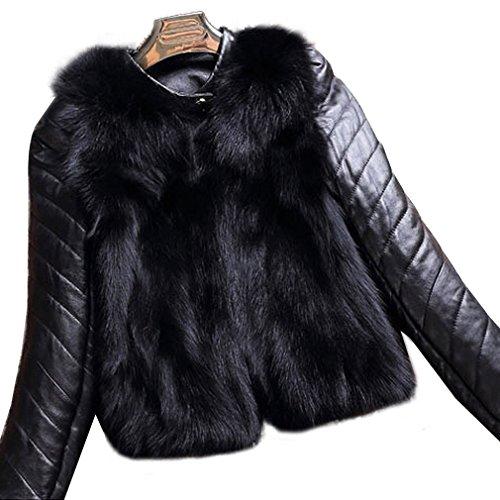 Fur Story 151263 Damen Echte Fuchs Pelz Mantel mit Schafs Leder Unten Arm Schwarz Gr.40
