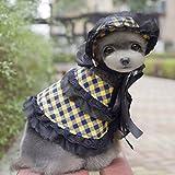 Scialle da Cane Poncho con Cappello, Moon mood® Costume dell'animale Domestico Vestiti Mantello Scialli Outdoor Sport Cappotto e Protezione Solare Cappelli Accessori per Piccole Cani Femmina