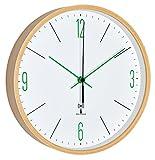 TFA Dostmann Analoge Design Funk-Wanduhr mit Ahorn-Rahmen, weiß/grün, 25.5 x 4.5 x 25.5 cm