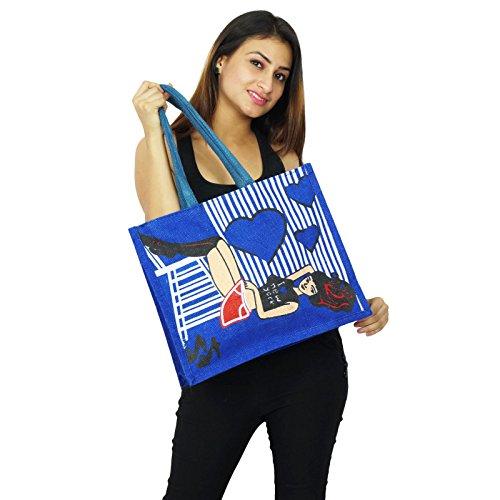 Frauen-Modedesigner Handarbeit Baumwolle Jute indische Handtaschen Taschen-Geschenk für Wasserblau
