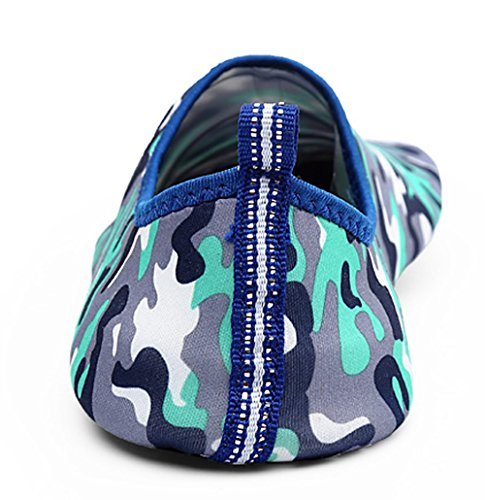 YIRUIYA Damen Aquaschuhe Pools Unisex Wasserschuhe Rutschfeste Sohlen Barfuß Strandschuhe Camouflage Blau