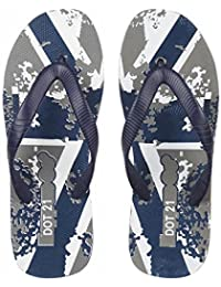 DOT21 Men's Printed Thong- Styled Slipper| Color - Navy Blue & Grey | Casual & House Flip Flops