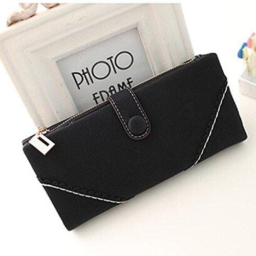 Malloom® Titolare Donna borsa portafoglio Lungo Frizione Borsa PU Borse (azzurro) nero