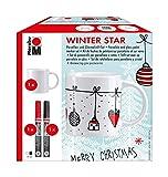 Marabu 012300101 - Porzellan und Glasmalset Winter Star mit Tasse zum selber Gestalten und zwei Stiften