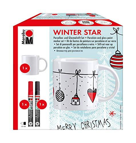 Marabu 0123000000101 - Porcelain & Glas Painter, Tassenset Winter Star, 1 Porzellantasse weiß + 2 Porzellan- und Glasmalstifte mit Strichstärke 1 - 2 mm in kirsche und schwarz