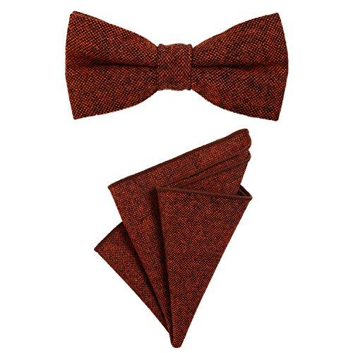 DonDon Herren Fliege 12 x 6 cm gebunden längenverstellbar und Einstecktuch 23 x 23 cm farblich passend aus Baumwolle orange schwarz