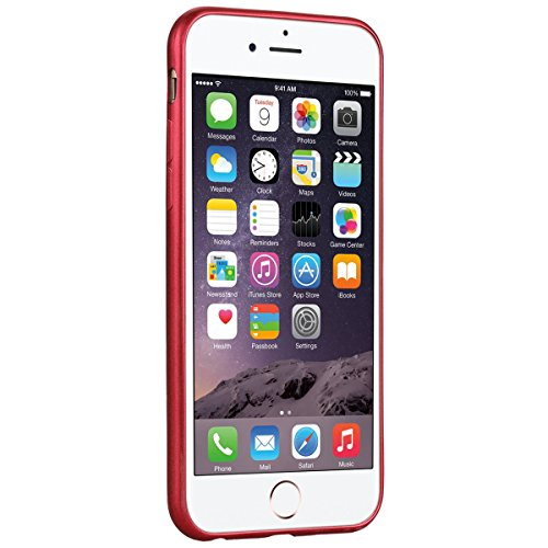 Custodia per iPhone 6/6S , GrandEver TPU Flessibile Ultra Sottile Gel Silicone con Impact Absorbing GommaAnti Scivolo Anti-urto Protettiva Bumper Cover Case - Rosso Rosso