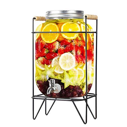 Kimmyer Jarra de Jugo de Vidrio de 4 litros con Grifo, dispensador de Bebidas, Cubos de Bebidas, Botella de Vino para el hogar, Jarra de masón, Ideal para té Helado, Jugo, Cerveza