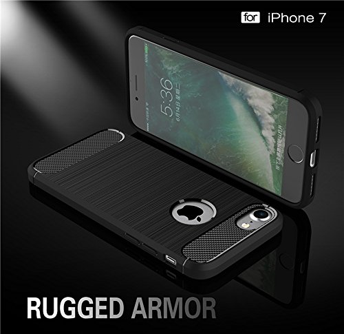 Dünne und Leightweight gebürstete Carbon Fibre Rugged Armor Back Cover Stoßstange Fall Shockproof Drop Resistance Shell Cover für iPhone 7 ( Color : Blue ) Red