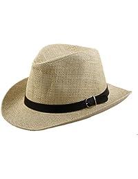 sourcingmap Uomini Estate Intrecciato Paglia in Finta Pelle Banda Stile Western  Cappello Il Cappello da Cow 909adf76f0d6