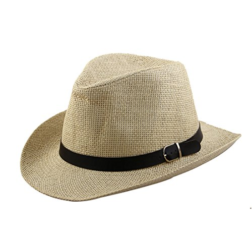 sourcingmap Männer Sommer Stroh geflochtene Kunstleder Band westlichen Stil Sonnenhut Cowboy Hut beige (Sonnenhut Band)