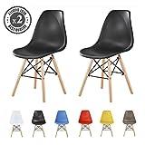 MCC Retro Design Stühle LIA im 2er Set, Eiffelturm inspirierter Style für Küche, Büro, Lounge, Konfernzzimmer etc., 6 Farben, KULT (schwarz)