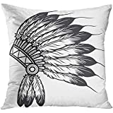 Throw Pillow Cover Feather Native American Indian Chief Headdress Head Tribal Mohawk Decorative Pillow Case Home Decor Square 18x18 Inches Pillowcase