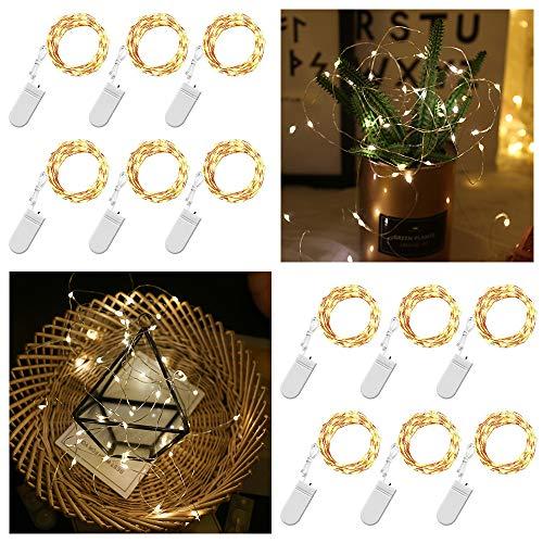 12 Pack Warmwhite-Fee-Schnur-Licht Batteriebetriebene Lichterketten Firefly Lichter Micro LED-Schnur-Lichter auf 10ft / 3m Silvery Kupferdraht für DIY Weihnachtsdekoration Kostüm Hochzeit von ENUOLI