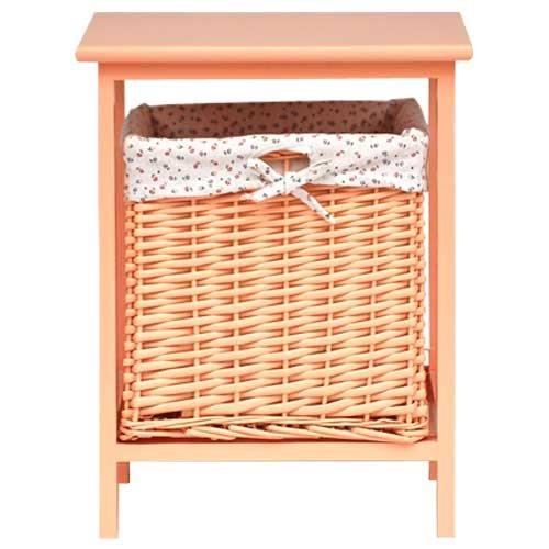 lounge-zone Sitzhocker Hocker Cube Wäschekorb Kinderzimmer Kinder Kinderhocker Beistelltisch Tischhocker LISA mit Stauraum herausnehmbarer Rattankorb Rattan aprikot orange Höhe 45cm 5944
