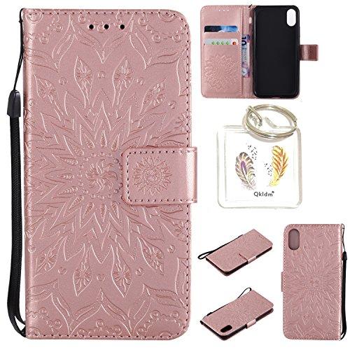 Preisvergleich Produktbild für iPhone X / iPhone 10 5.8 Zoll Geprägte Muster Handy PU Leder Silikon Schutzhülle Handy case Book Style Portemonnaie Design für Apple iPhone X / iPhone 10 5.8 Zoll + Schlüsselanhänger/*1 (5)