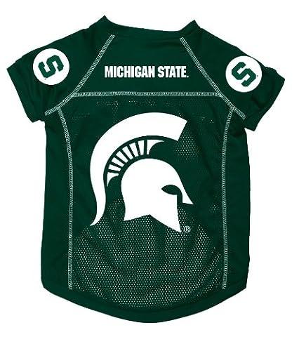 Dog Zone NCAA Pet Football Jersey, Large, Dark Green, Michigan State University