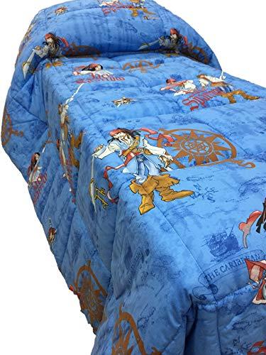 Caleffi Steppdecke Einzelbett Disney Pirates of the Caribbean - Kissenbezug reine Baumwolle Füllung Polyester-Faser antiallergisch Farbe ()