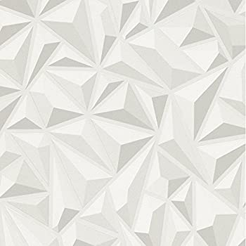 Effet 3d Blanc Gris Geometrique Papier Peint Texture Vinyle
