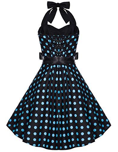 Zarlena Damen Rockabilly Kleid Polka Dots Punkte Tupfen Retro 50er Neckholder Schwarz mit türkisen Dots M 633--M -