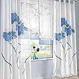 SIMPVALE 2 stücks Gardinenschal Gardine Print Blumen Vorhang für Wohnzimmer Schlafzimmer Schlaufenschal Breit 150cm (Hoehe 145cm, Blau)