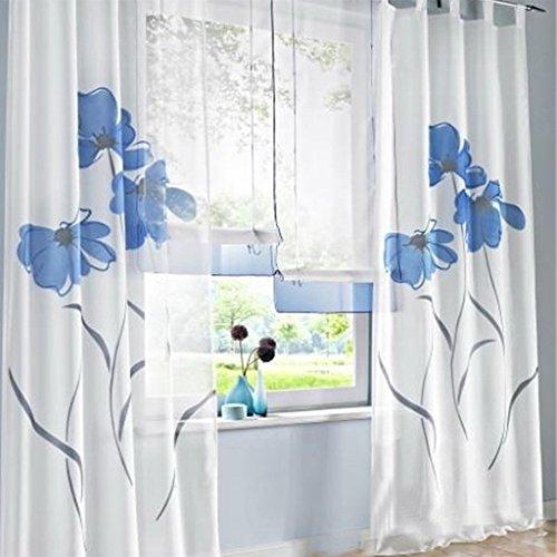 SIMPVALE 2 stücks Gardinenschal Gardine Print Blumen Vorhang für Wohnzimmer Schlafzimmer Schlaufenschal Breit 150cm (Hoehe 245cm, - Für Vorhänge Wohnzimmer Blau