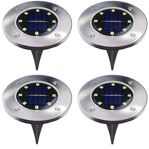 Solarleuchten Garten-4 Stück 8 LEDs Solar Bodenleuchte Solar Gartenleuchten Helles Weiss Solarlampen Wasserdichte Bodenstrahler Licht