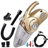 Dbtxwd Auto-Staubsauger mit Reifen-Inflationspumpen-Luftdruck-Reifen-Messgerät LED-Beleuchtung, Multifunktionsbewegliches Vakuumnaß Trockenes Saug-Selbstvakuum