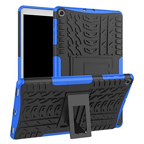 Für Samsung Galaxy Tab A 10.1 2019 SM-T515/ T510 Hülle, Colorful [Heavy Duty] Rugged Armor stoßfest Handy Schutzhülle Silikon Tasche Ständer Hülle Case mit Standfunktion (Blau)
