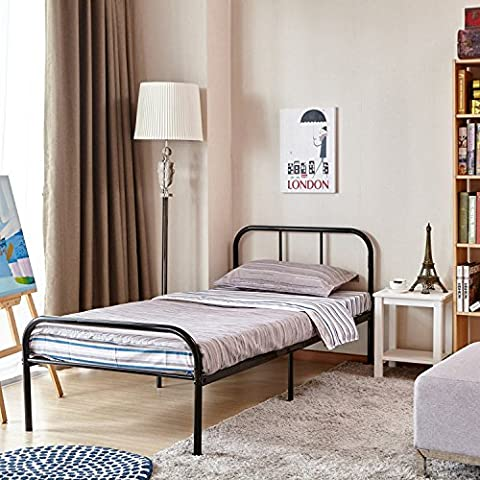 Single Bed Frame Coavas 3ft Single Adults Solid Bedstead Base with 2 Headboard Metal Bed Frame