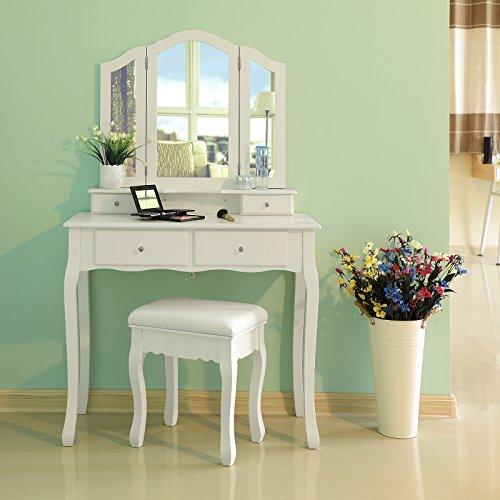 Songmics Schminktisch 3 Spiegel mit Hocker u. 4 Schubladen inkl. 2 Stück Unterteiler, Kippsicherung,weiß RDT07W - 2