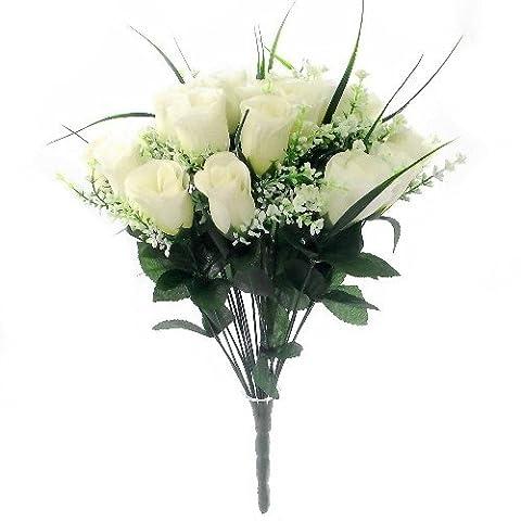 42cm Artificial Silk Ivory/Cream Rose & Grass Bush with Gyp & Foliage 24 - 25 flower heads- Wedding Grave Home Decoration