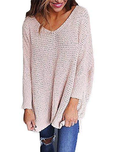 Minetom Donna Autunno Inverno Casuale Maglioni V Collo Maniche Lunghe Pullover Jumper Maglia Maglione Oversize Sweatshirt Maglietta Tops Pink